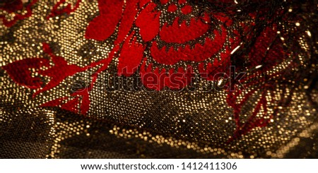 texture, background, pattern, lace with gold sequins Elastic lace pattern from gold strings with lace trim - a wonderful dark gray color with a pink pattern! #1412411306