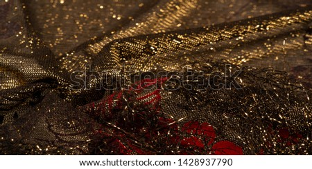 texture, background, pattern, lace with gold sequins Elastic lace pattern from gold strings with lace trim - a wonderful dark gray color with a pink pattern! #1428937790
