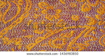 Texture background, pattern. pink brocade fabric. Organza brocade fabric - shepherd, with a crunchy palm. It has a large yarn-dyed flower embroidered pattern throughout. #1436983850