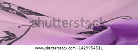 Texture, background, pattern, postcard, silk fabric, blue, lilac glaucous tones, black patterns with print, floral pattern, exquisite fabric will make your project the best #1429954511