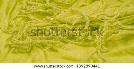 texture, background, pattern, postcard, silk fabric, light green color, aureolin, artificially wrinkled fabric, wrinkled texture, abstract illustration #1392890441