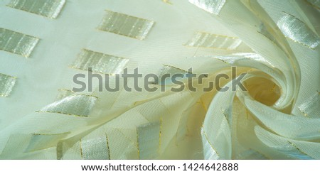 texture, background, pattern, postcard, silk fabric with metal square platinum accents, edged with a gold line, pastel colors of ivory