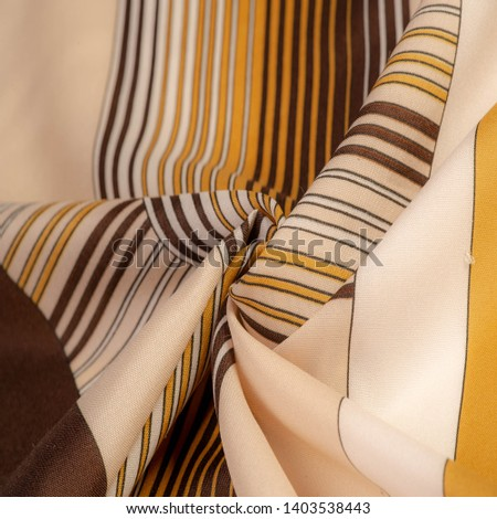 Texture, background, pattern, silk fabric of brown color, geometric lines, pattern from tribal straight lines of different shades, geometric pattern, set for your projects, brown and white