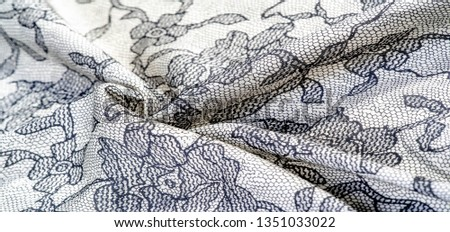 texture, background, pattern. Silk white fabric with lace patterns. This elastic lace trim can add a delicate touch to everything! Decorate your jewelry with your projects, crafts and Internet decor #1351033022