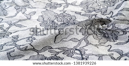 texture, background, pattern. Silk white fabric with lace patterns. This elastic lace trim can add a delicate touch to everything! Decorate your jewelry with your projects, crafts and Internet decor #1381939226