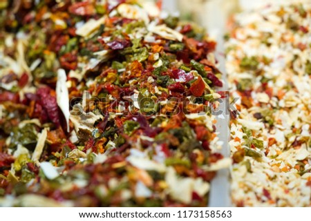 texture background, pattern. Spices for preparation of culinary dishes. Aromatic or pungent vegetable matter used to flavor food, e.g., cloves, pepper, or mace. #1173158563