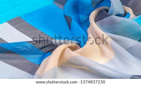 Texture, background, silk fabric pattern, oblong rhombus, bohemian print, decorative fabric for your design and project accents, multicolor Grunge blue azure beige gray
