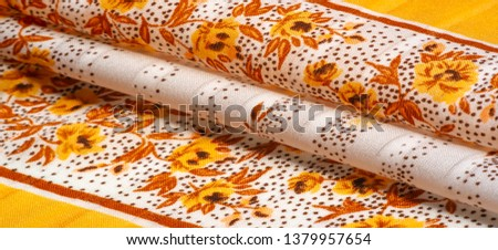 Texture background, women's shawl. yellow flowers on a  YOUR SMILE, light scarves, beach towels an exquisite design for the Internet: fashion flowers, print, shawl, #1379957654