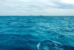 texture blue sea or ocean water full frame. Horizontal frame