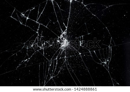 Texture broken glass with cracks. Abstract of cracked screen Smartphone from shock. #1424888861