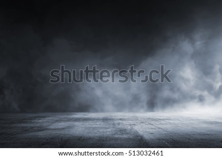 Texture dark concrete floor with mist or fog #513032461