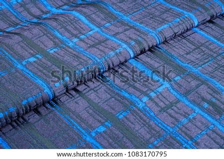 Texture, fabric, background. Woolen cloth. Dark blue stripes. Black Stripes #1083170795