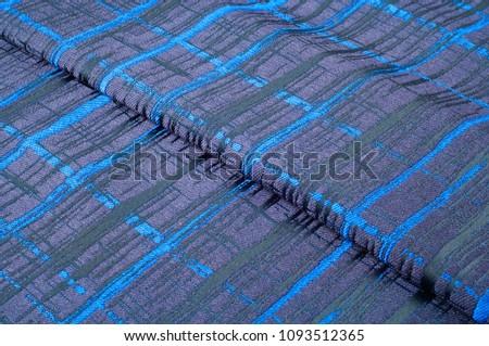 Texture, fabric, background. Woolen cloth. Dark blue stripes. Black Stripes #1093512365