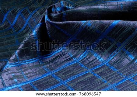 Texture, fabric, background. Woolen cloth. Dark blue stripes. Black Stripes #768096547