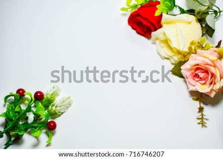 Texture flower white background roses and light #716746207