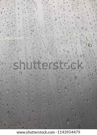 Texture from drops of water. Drops of water on the glass. It's raining outside. Misted glass