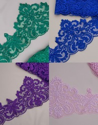 Texture lace fabric. Collage of lace on background studio. thin fabric made. background image of ivory-colored lace cloth. multicolored lace on beige background.