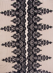 Texture lace fabric. lace on white background studio. thin fabric made of yarn or thread. a background image of ivory-colored lace cloth. Black lace on beige background.