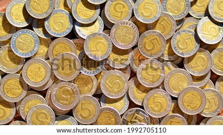 Texture made of extreme closeup of 5 Polish Zloty coins