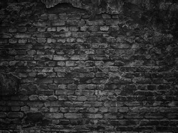 texture of a black brick wall, dark background for design