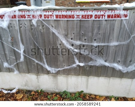 Texture of a decorated fence for halloween