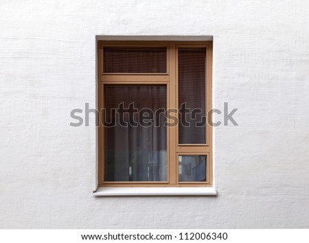 Texture of a modern window on the white wall