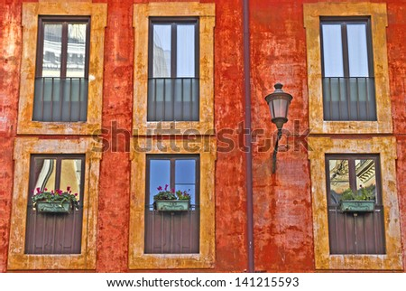 Texture of a typical Italian building, Rome, Lazio, Italy