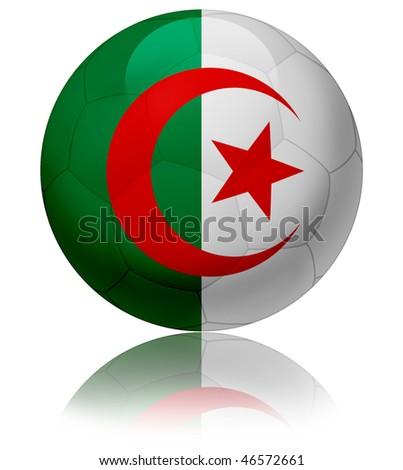 Texture of Algeria flag on glossy soccer ball