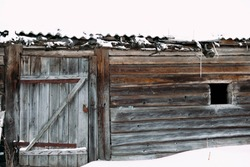 texture of an abandoned old house under the snow. Log wall and doors.