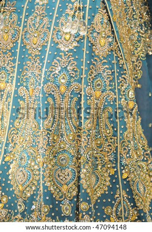 Texture of an Indian Saree, on display in a store.