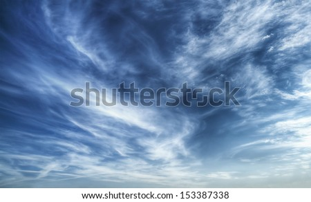Texture of bright blue dramatic cloudy sky