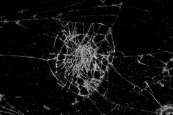Texture of broken glass on black