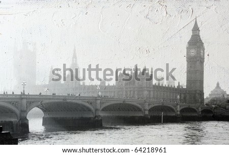texture of canvas with Buildings of Parliament in London UK view from Themes river.