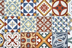 Texture of ceramic tiles in oriental style. Portugal ceramic tiles laid out on the wall. Wall ceramic porcelain tiles for the home, restaurant decoration. Turkish style kitchen tiles in colors