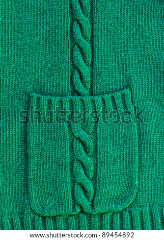 texture of christmas green knitted wool sweater background with pocket