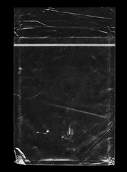 Texture of Clear Plastic Bag on Black Background