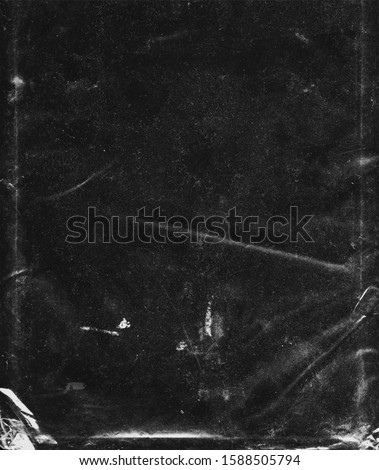 Texture of Clear Plastic Bag on Black Background stock photo