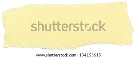 Texture of cream yellow fiber paper with torn edges. Isolated on white background.