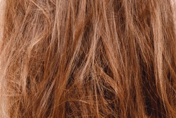 Texture of damaged female hair close-up on gray background. concept loss color and protein.