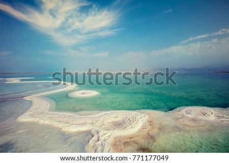 Texture of Dead Sea. Salty sea shore. Israel
