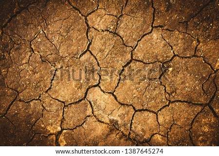 Texture of dry cracked earth. The desert background. The shortage of water on the planet. Deep cracks in the brown land as a symbol of hot climate and drought. Concept of global warming. Copy space. #1387645274