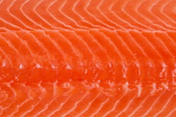 Texture of fish flesh of chilled salmon fillet, top view close-up, background