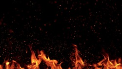 Texture of flames isolated on black background. Fire and fiery element.