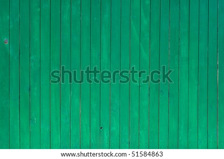 Texture of green painted wooden lining boards
