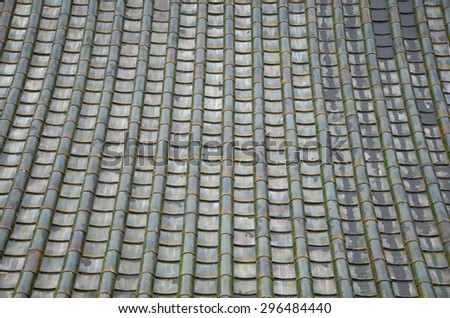 Texture of green roof in the Chinese temple