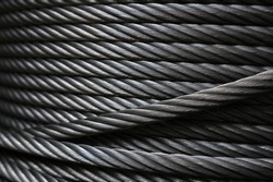 Texture of heavy duty new steel cable. steel wire rope or steel sling.Use for industrial or construction background