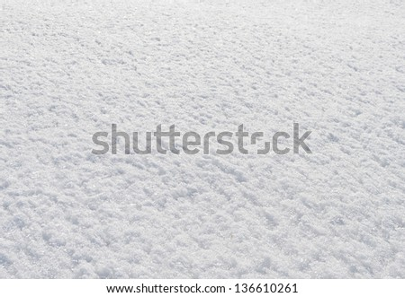 Texture of March snow in sunshine as background