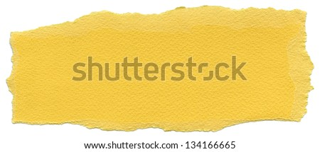 Texture of Naples yellow fiber paper with torn edges. Isolated on white background.
