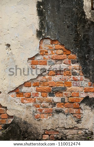Texture of old abandoned wall with bricks