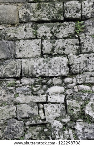 texture of old gray stone wall